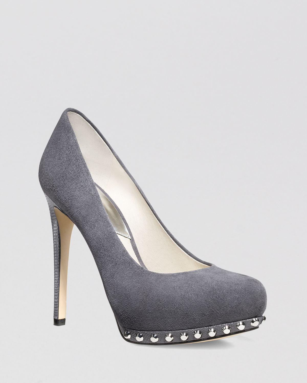 michael michael kors platform pumps ailee studded high heel in black dark slate lyst. Black Bedroom Furniture Sets. Home Design Ideas