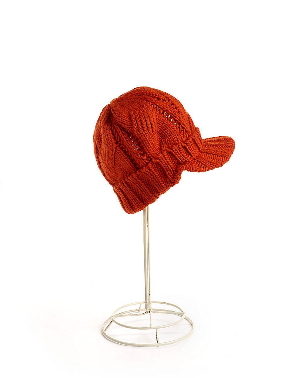27af6b99617 Lyst - Michael Michael Kors Cable Knit Peak Hat in Orange