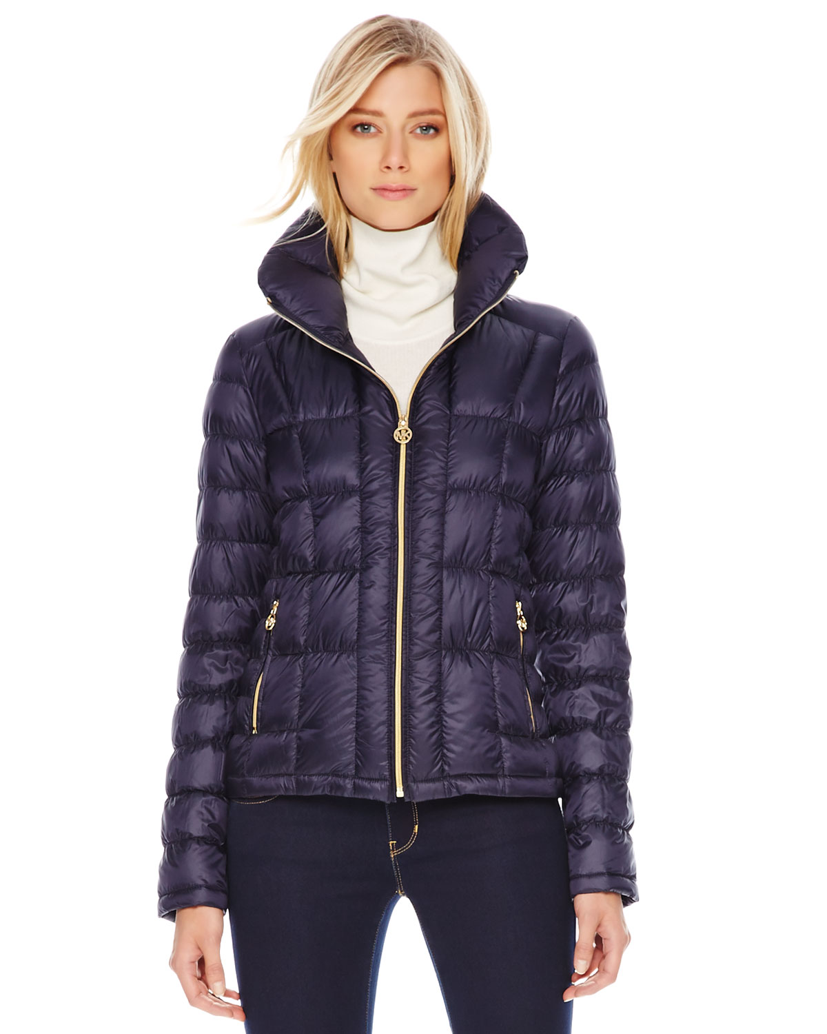 Michael kors Short Puffer Jacket in Blue | Lyst