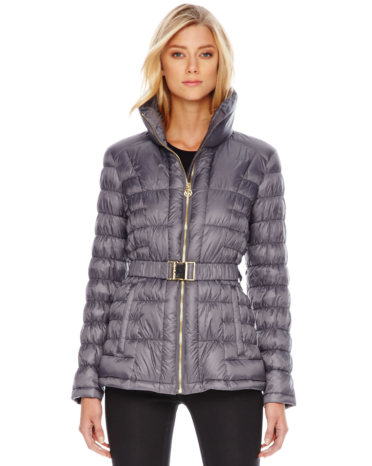 michael kors michael nipped puffer jacket in gray slate. Black Bedroom Furniture Sets. Home Design Ideas
