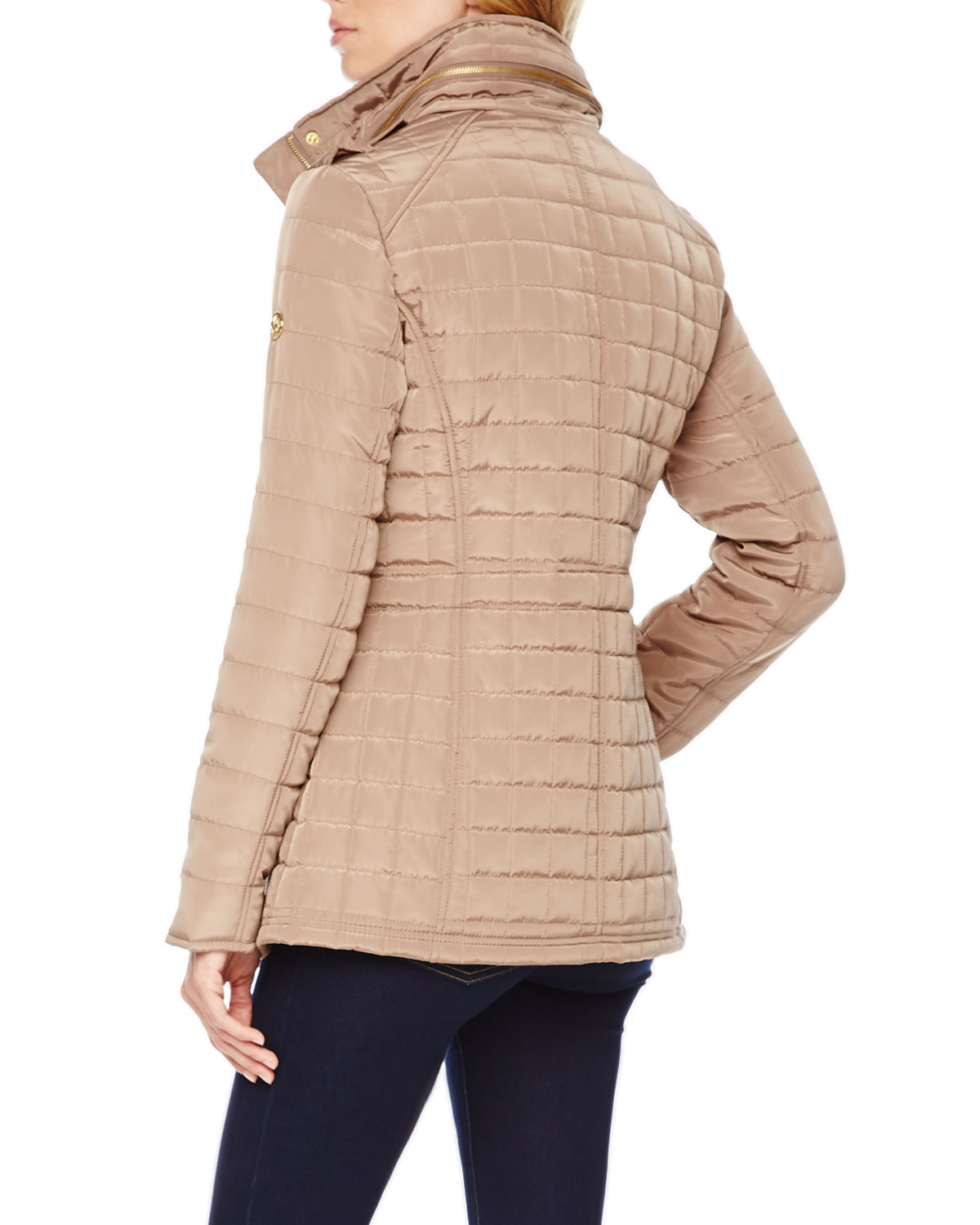 michael kors michael quilted puffer jacket in brown lyst. Black Bedroom Furniture Sets. Home Design Ideas