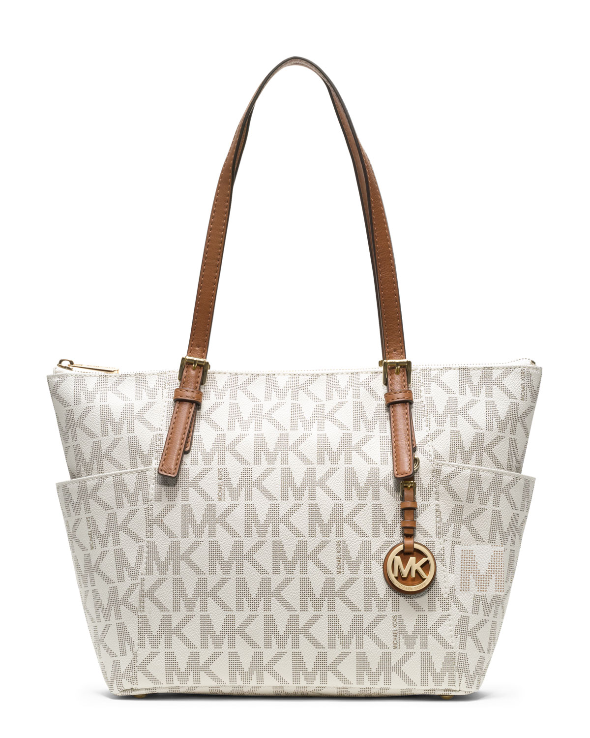 43b414cf0acc6a ... coupon code for lyst michael kors michael jet set logo top zip tote in  white bdfc1