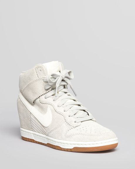 nike high top wedge sneakers dunk sky hi in white pale grey sail lyst. Black Bedroom Furniture Sets. Home Design Ideas
