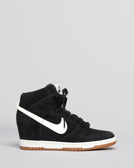 nike high top wedge sneakers dunk sky hi in white black sail lyst. Black Bedroom Furniture Sets. Home Design Ideas