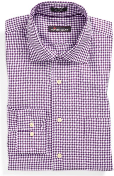 Peter millar regular fit dress shirt in purple for men for Royal purple mens dress shirts