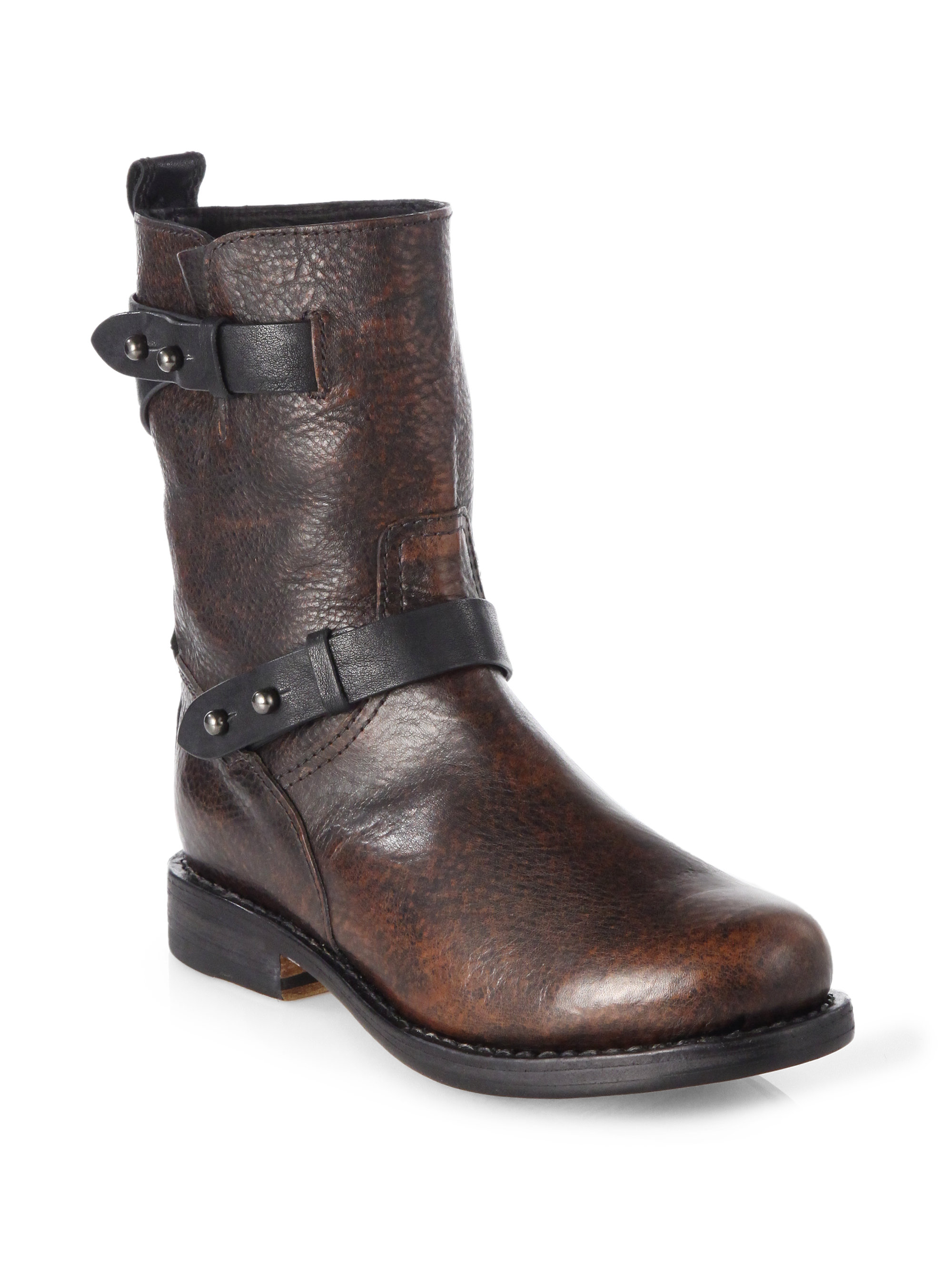 Lyst Rag Amp Bone Distressed Leather Midcalf Motorcycle