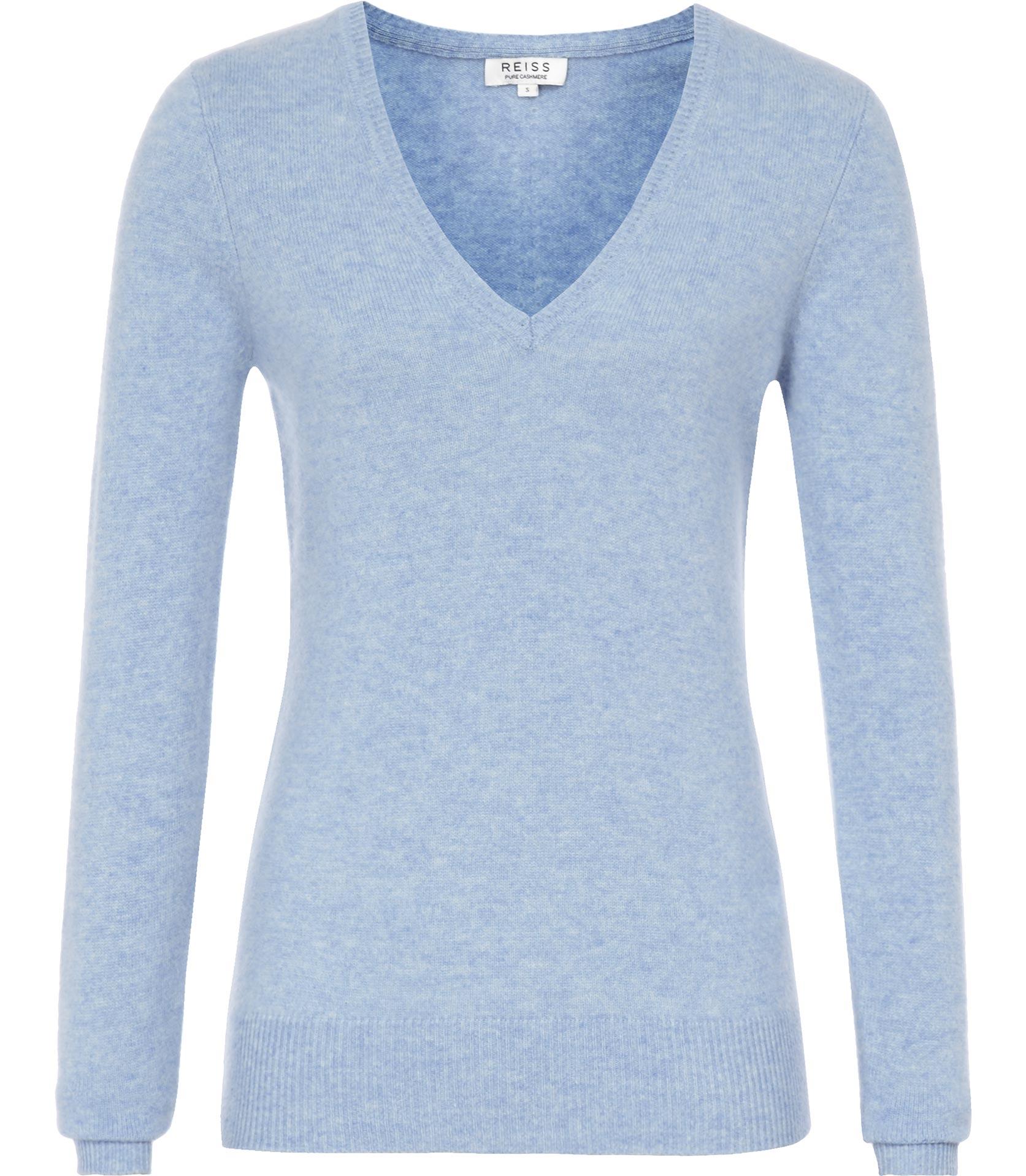 Reiss Mera Cashmere V Neck Jumper in Blue | Lyst