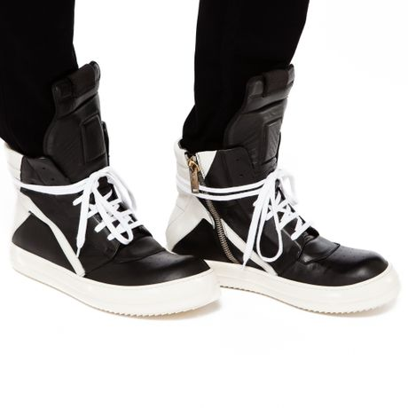 rick owens geobasket high top leather sneakers in black for men lyst. Black Bedroom Furniture Sets. Home Design Ideas