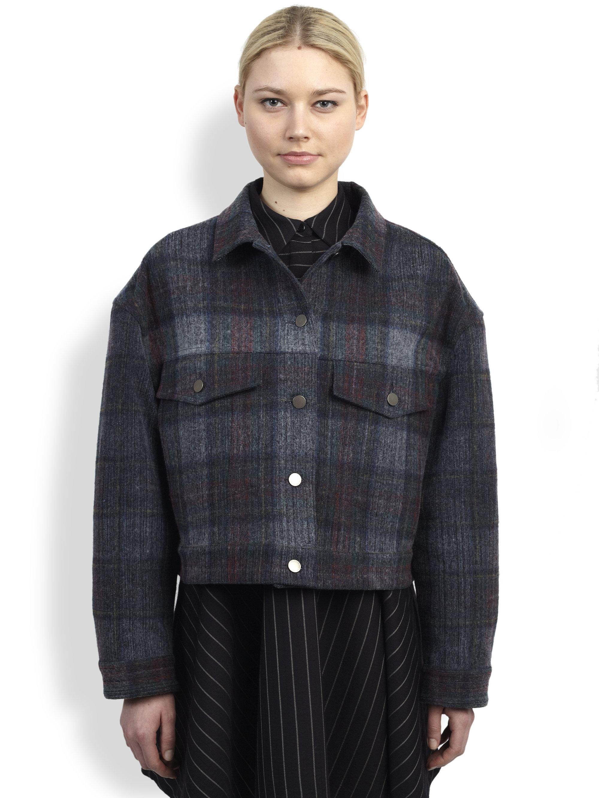 Lyst Stella Mccartney Plaid Denim Jacket In Gray