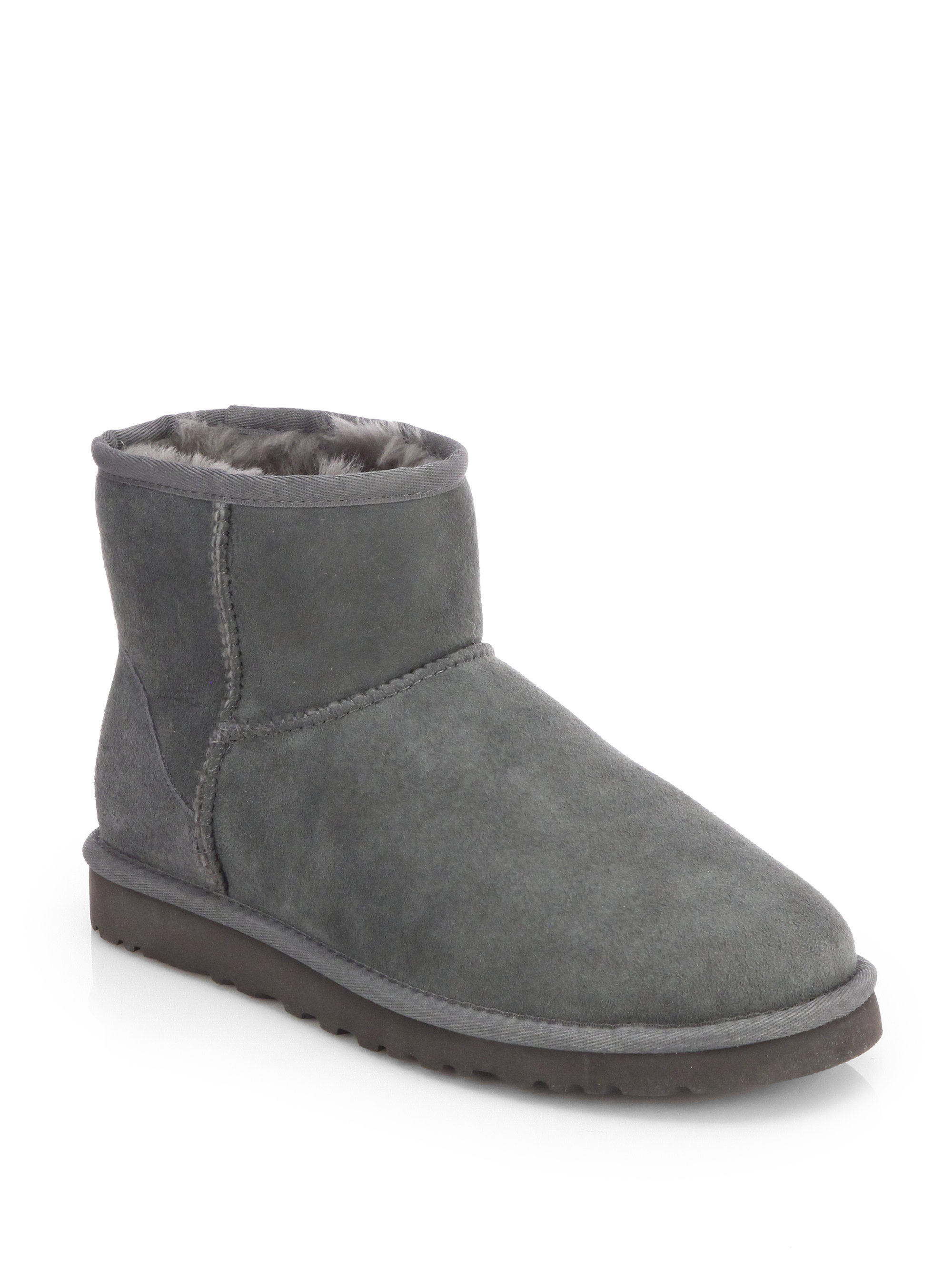 Ugg Classic Mini Suede Amp Shearling Boots In Gray Lyst