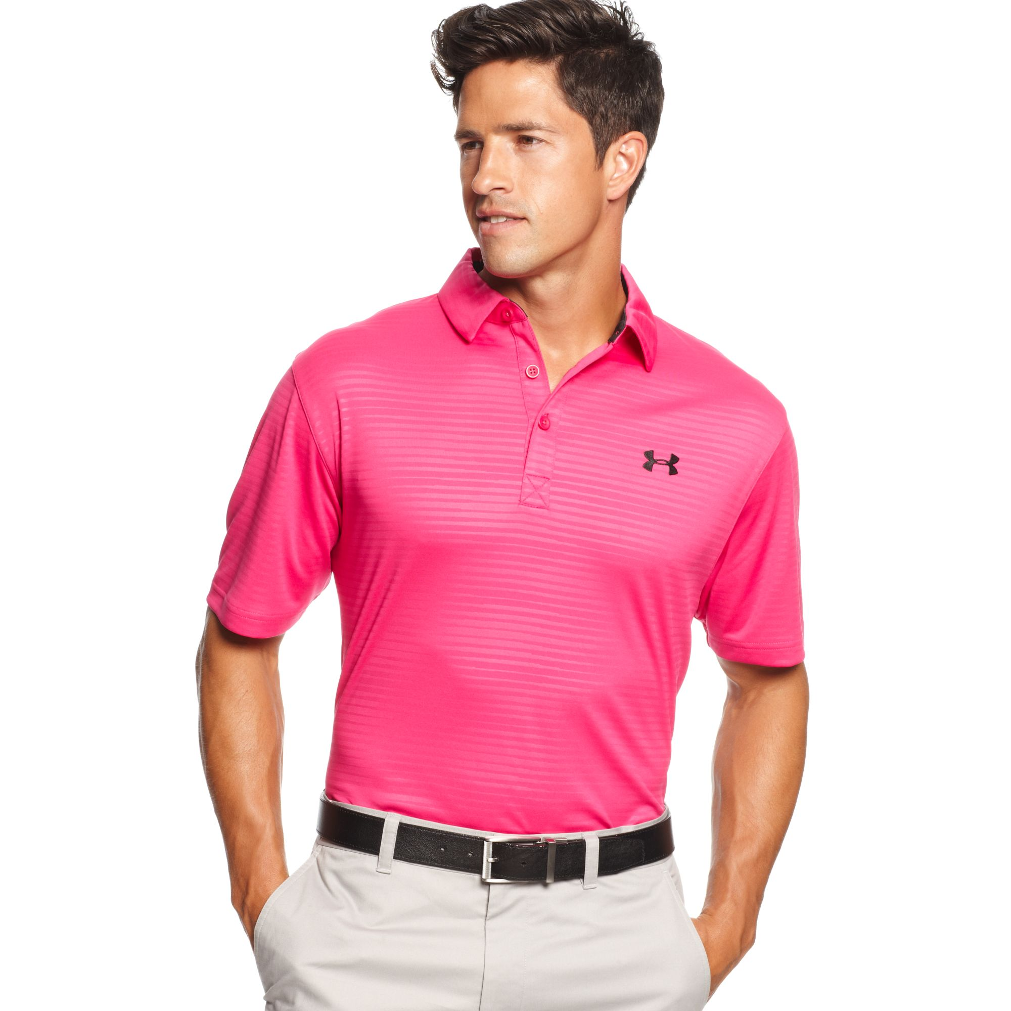 Lyst Under Armour Ua Power In Pink Striped Performance Polo In