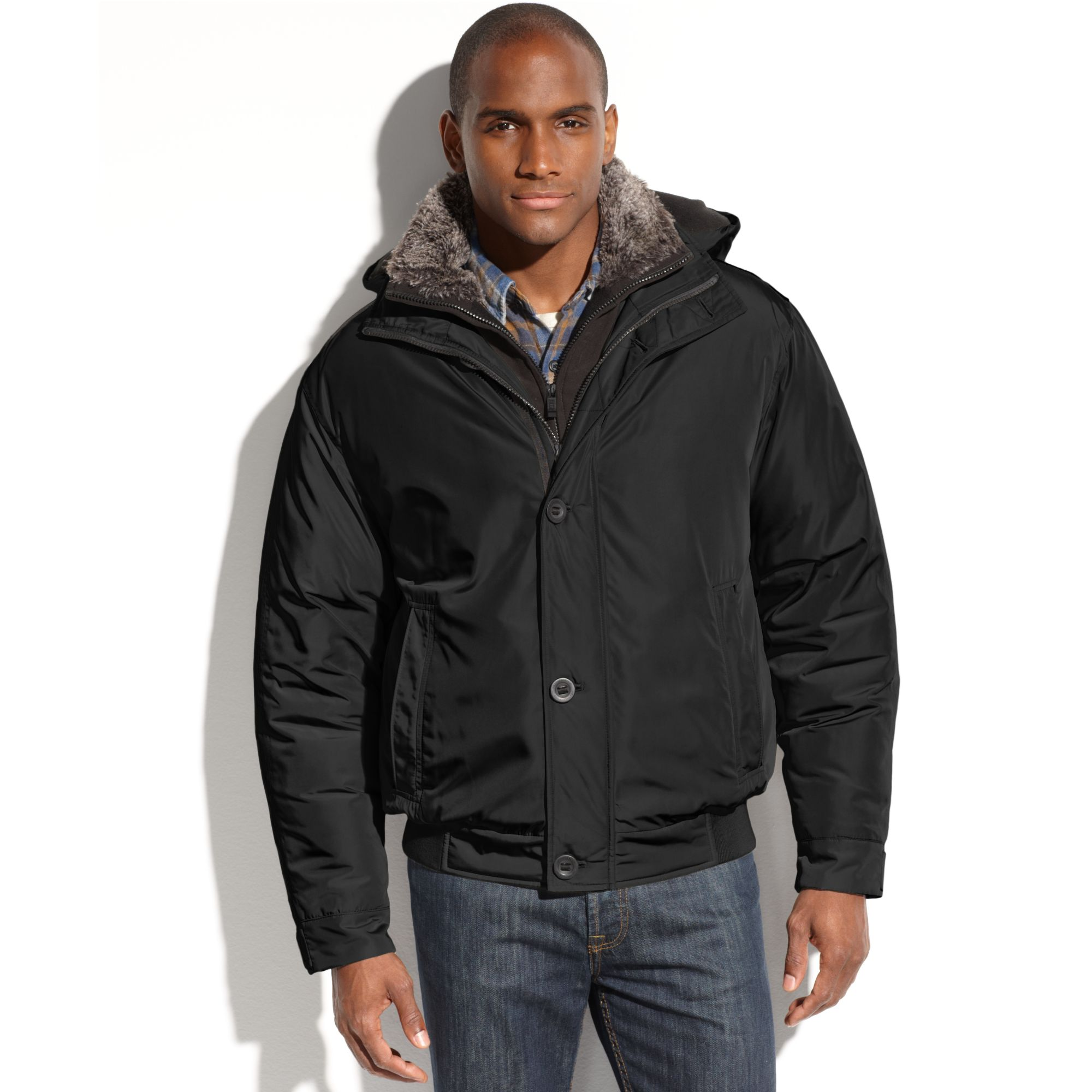 Lyst Weatherproof Ultra Oxford Hooded Faux Fur Collar