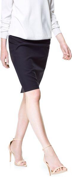 Zara Navy Blue Dress With Pencil Skirt 48