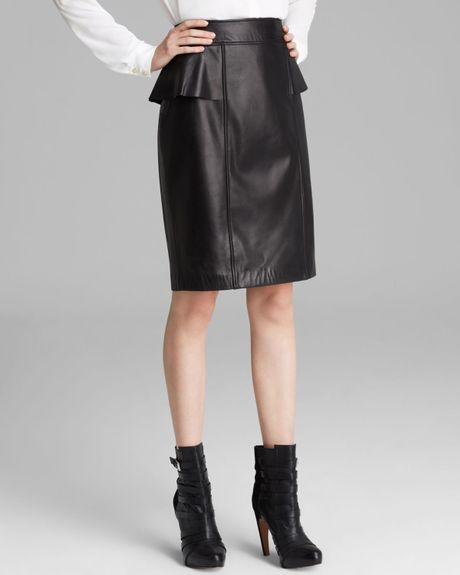 papell leather peplum skirt in black lyst