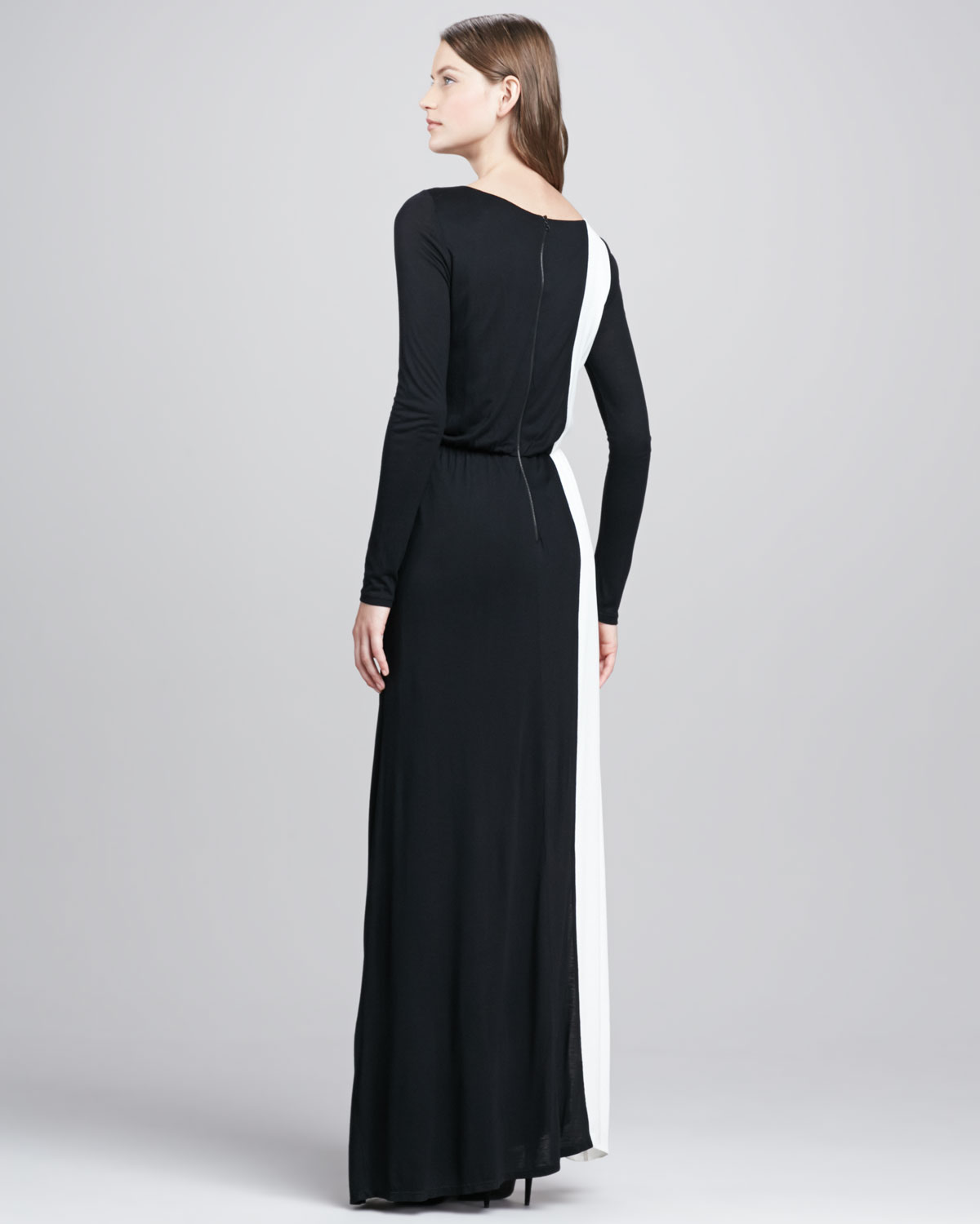 Alice Olivia Long Sleeve Two Tone Maxi Dress In Black Lyst