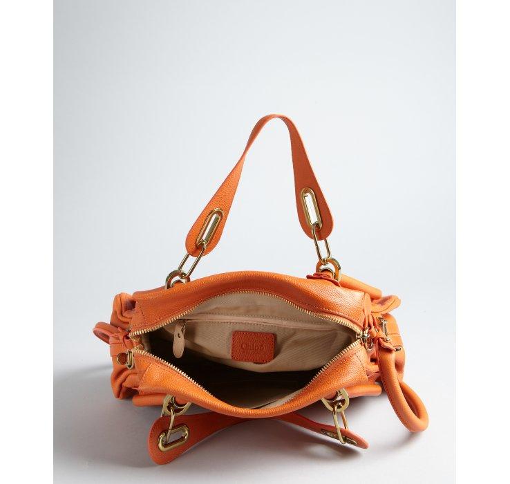 Chlo¨¦ Burnt Orange Pebbled Leather Paraty Medium Top Handle Bag in ...