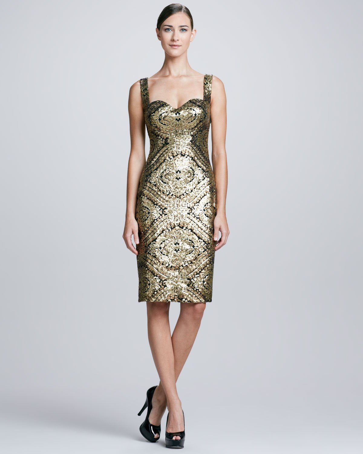 David meister Sleeveless Baroque Sequined Cocktail Dress in ...