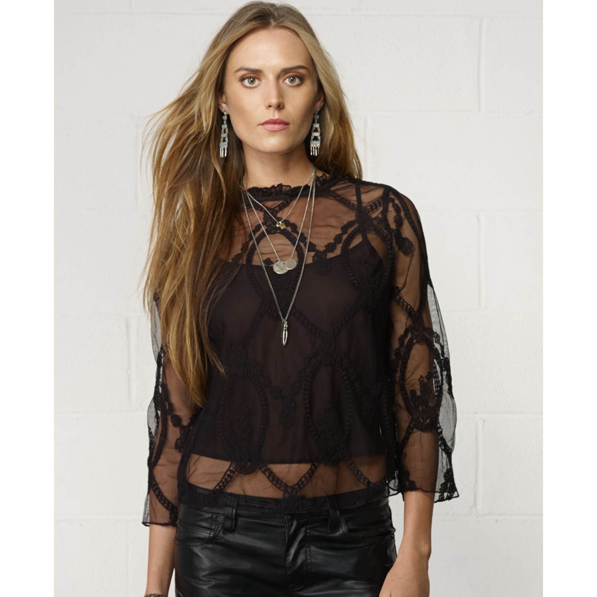 b37576b9 Denim & supply ralph lauren Longsleeve Embroidered Mesh Blouse in Black |  Lyst