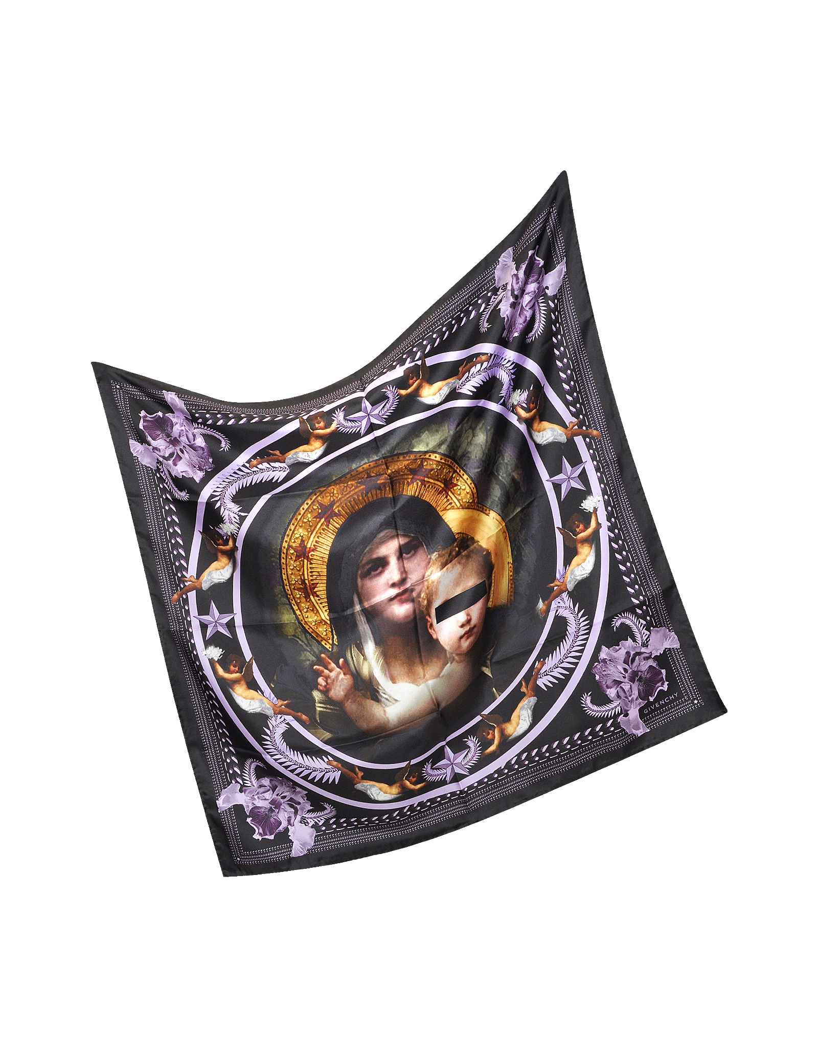 givenchy black print silk square scarf in black lyst