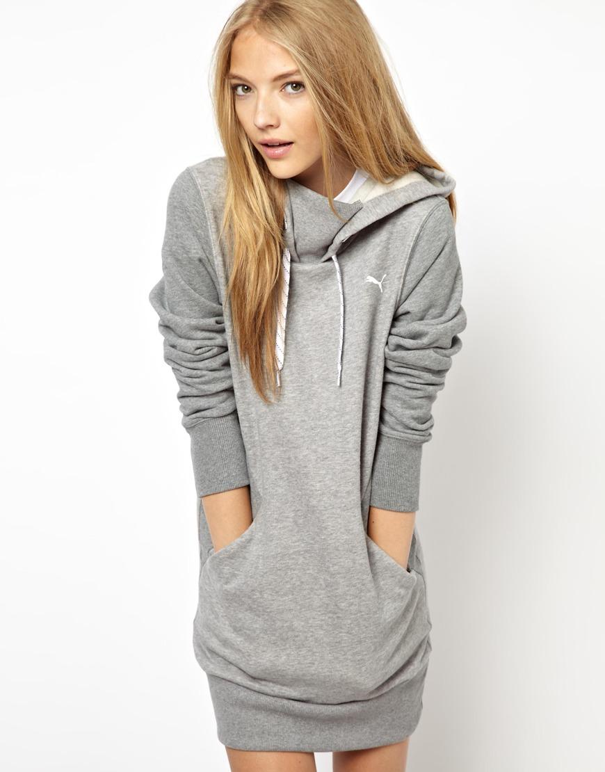 Lyst Puma Hoodie Dress In Gray