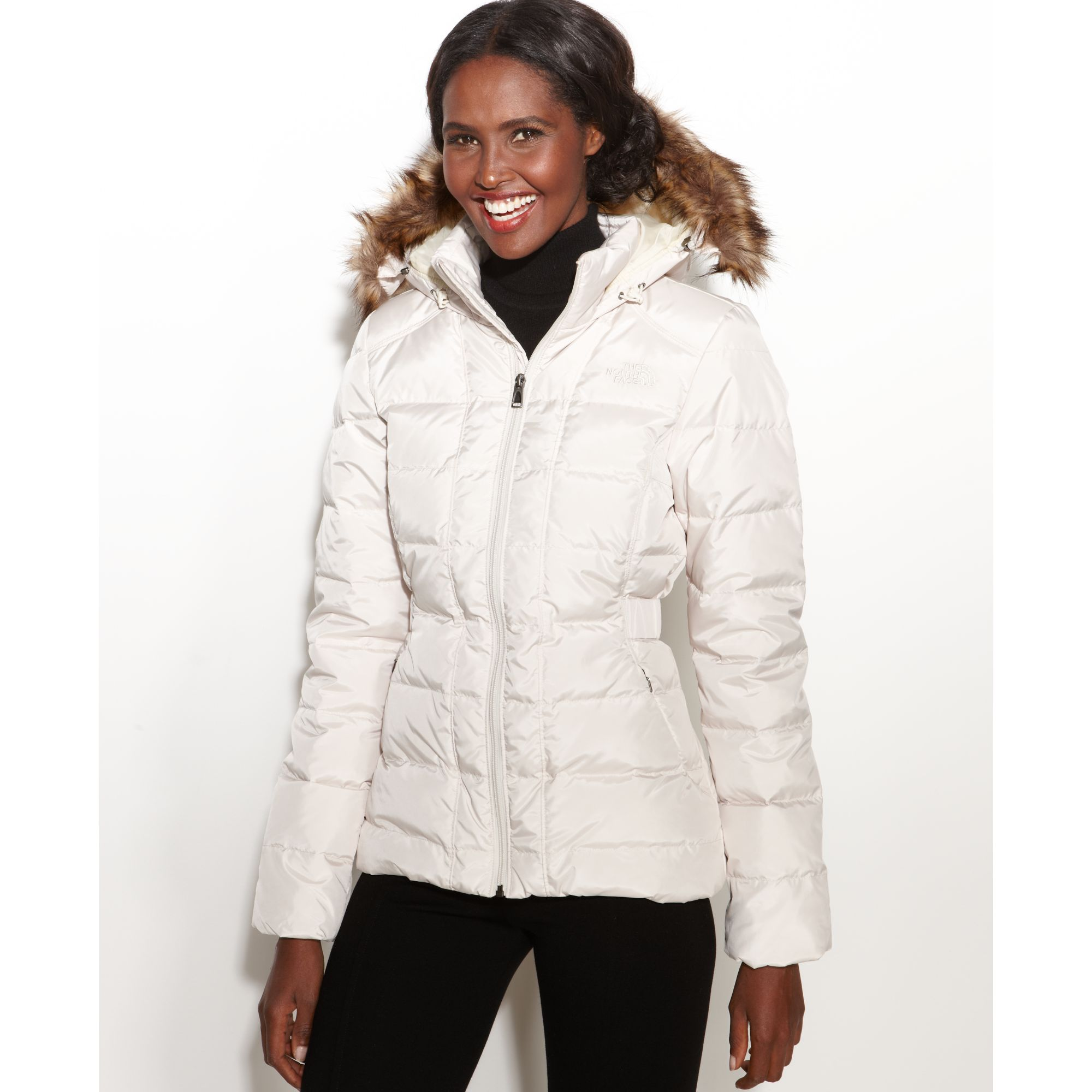 The North Face Gotham Hooded Faux Fur Trim Puffer In White