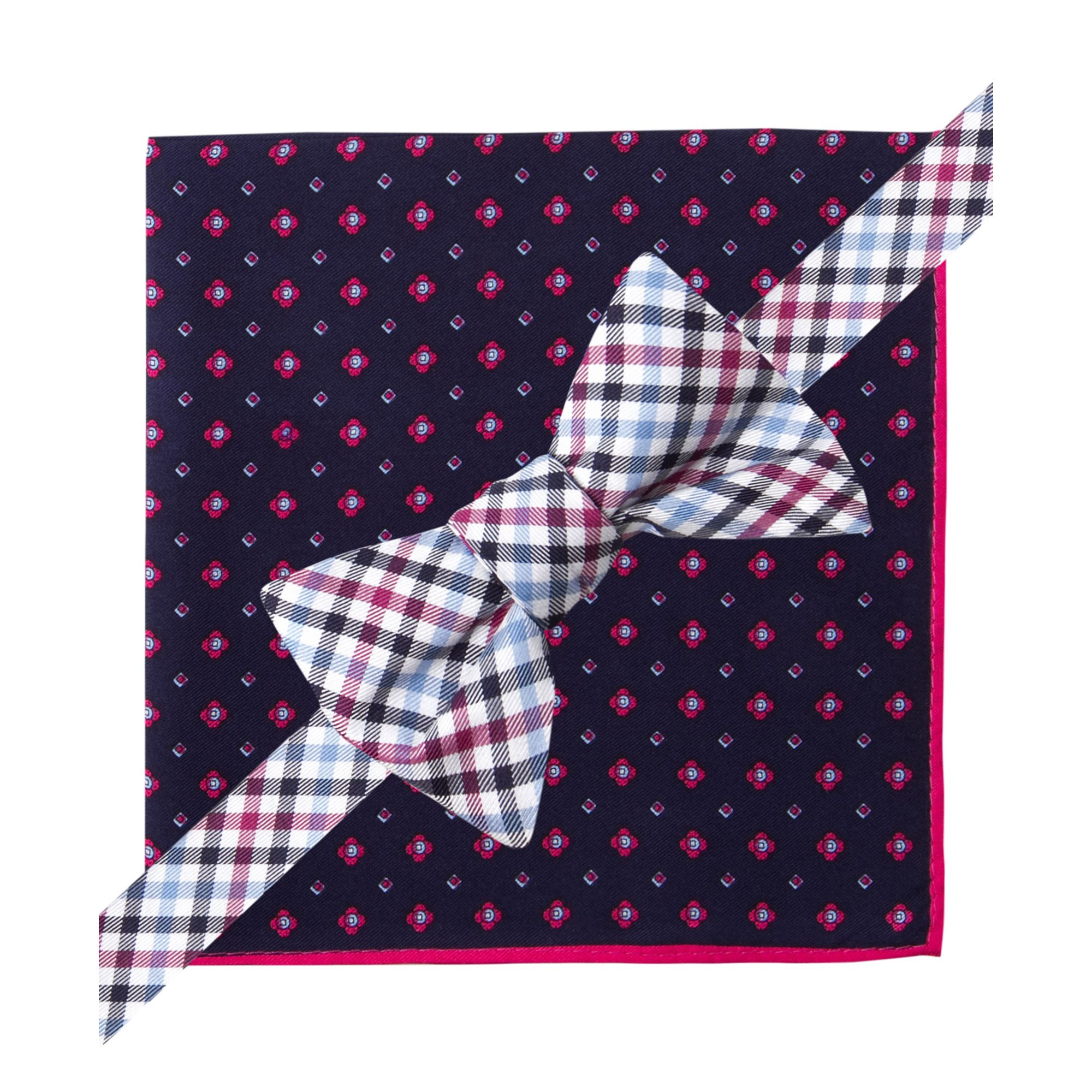 hilfiger gingham bow tie and neat pocket square set