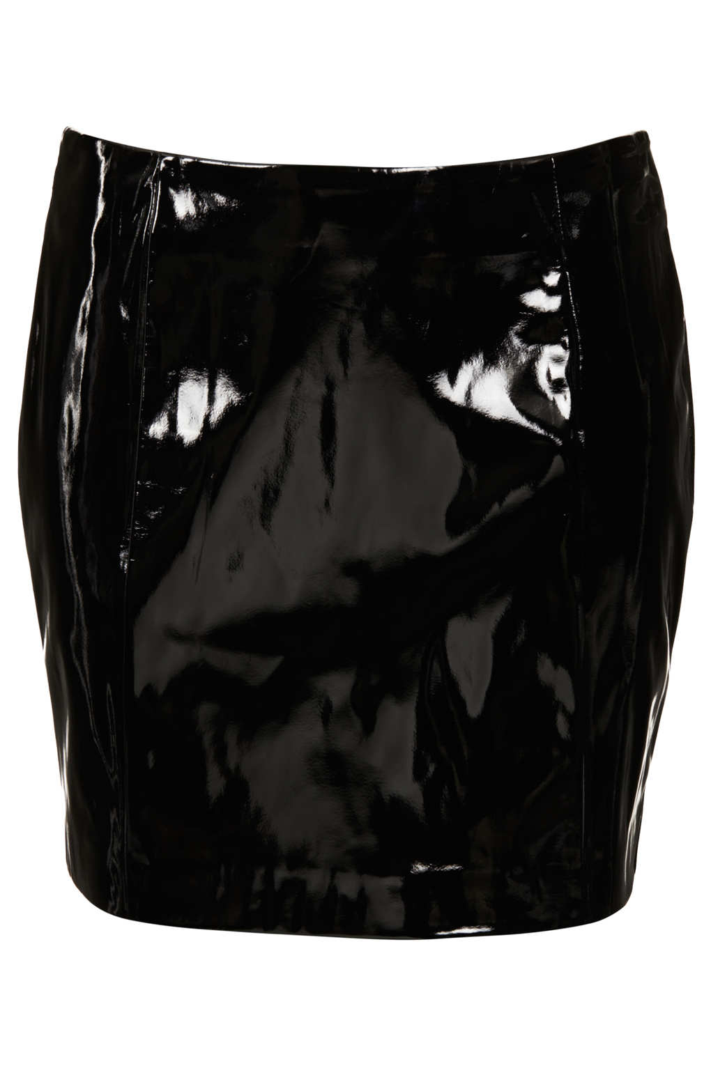 Lyst Topshop Black Vinyl Pelmet Skirt In Black