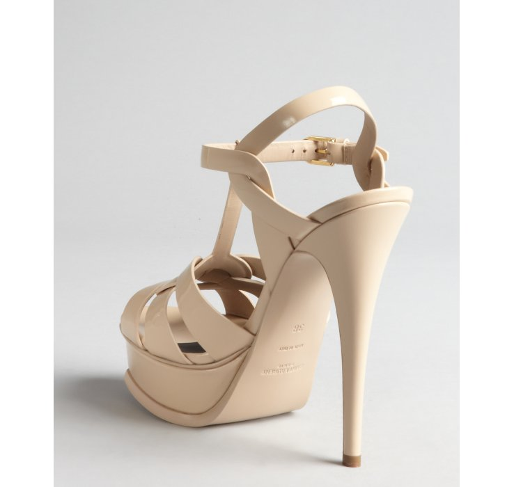 6367a3a8266 ... Yves Saint Laurent Womens Gold and Nude Leather Peep-Toe Toe Heel Sandal  Studded Ankle ...