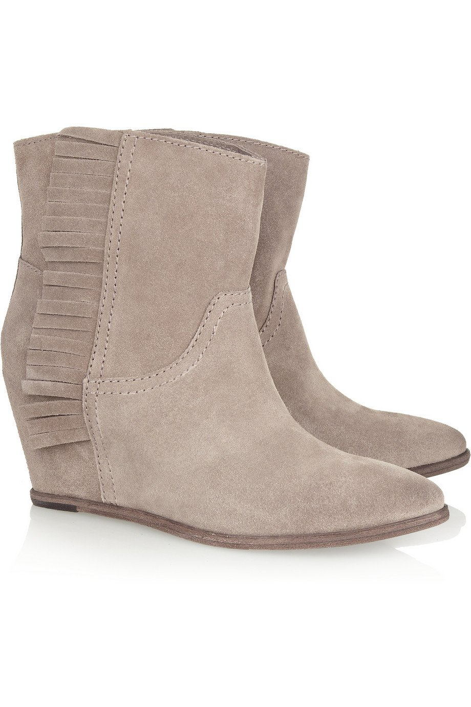 ash suede wedge boots in beige taupe lyst