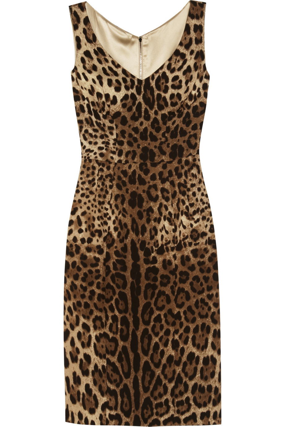 dolce gabbana leopard print crepe dress in multicolor