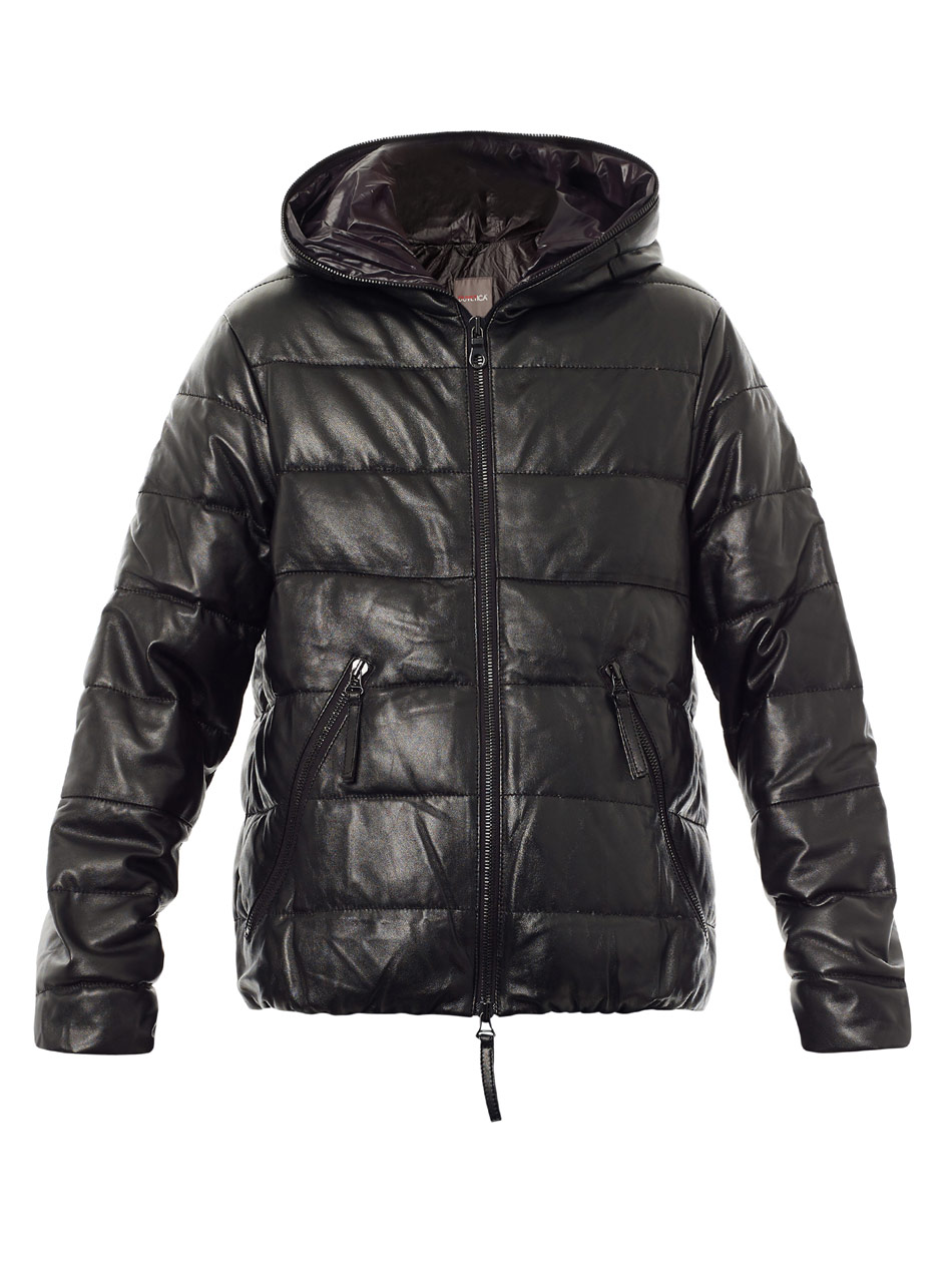 Duvetica Dionisio Leather Down Jacket in Black for Men | Lyst