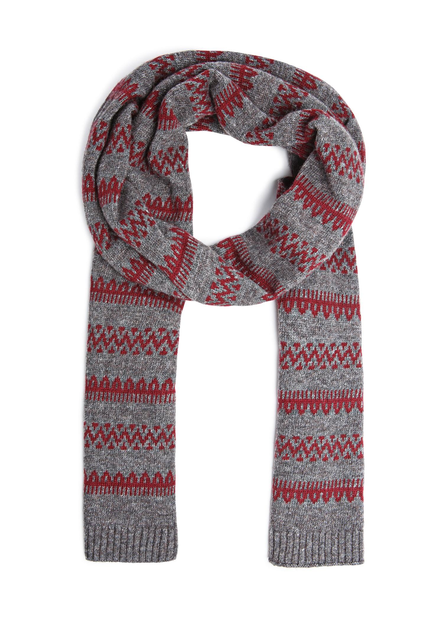 Simple Knitted Hat Pattern Free : Mango Fair Isle Pattern Knit Scarf in Brown (Maroon) Lyst