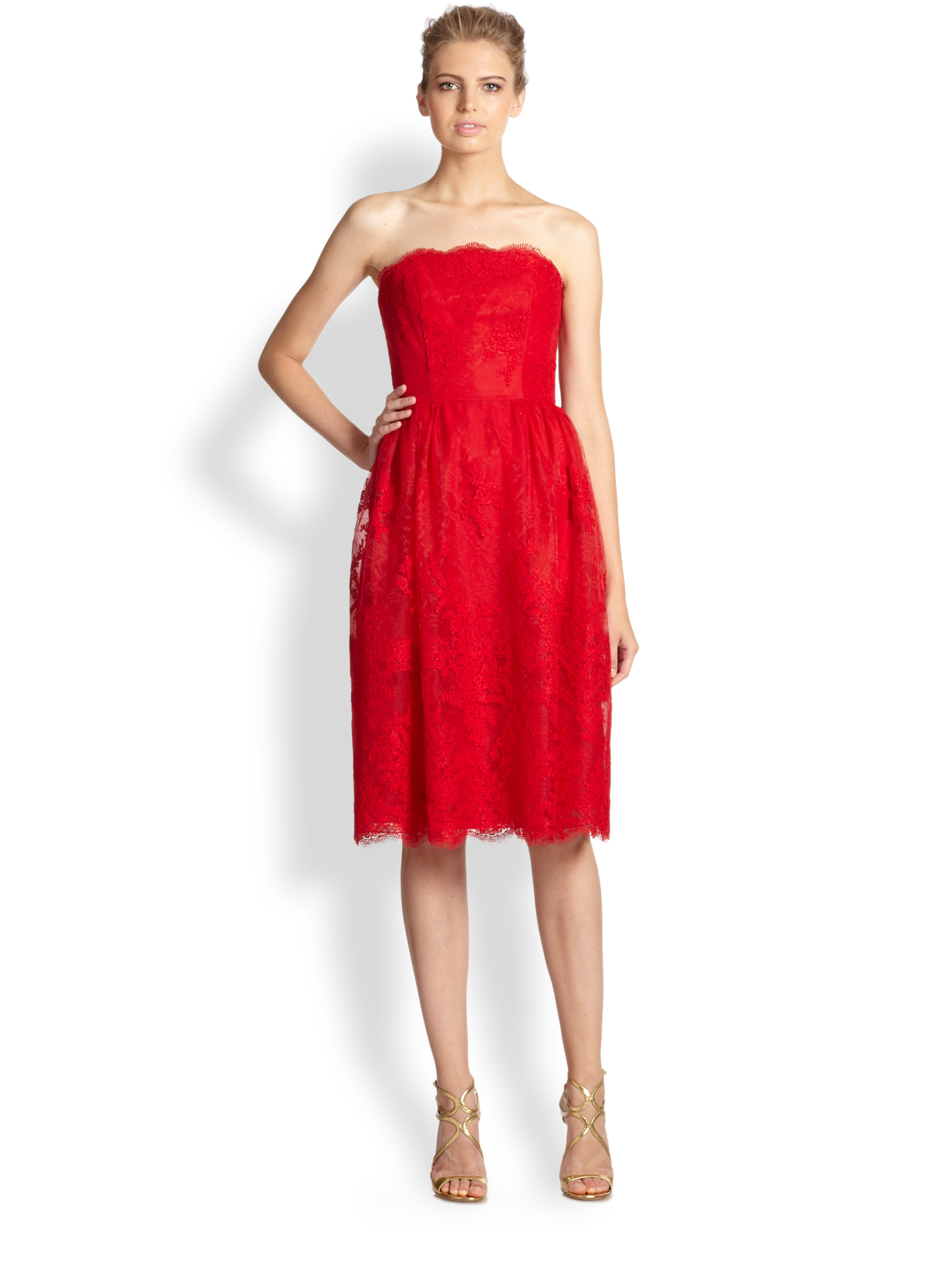 633949fe47430 ML Monique Lhuillier Strapless Chantilly Lace Ballerina Dress in Red ...