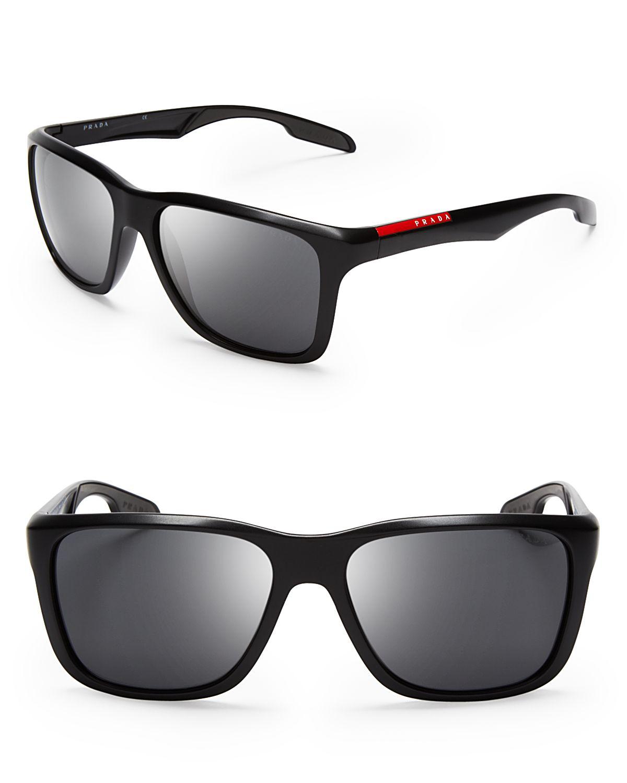 87e83dc3597 Lyst - Prada Lifestyle Sport Wayfarer Sunglasses in Black for Men