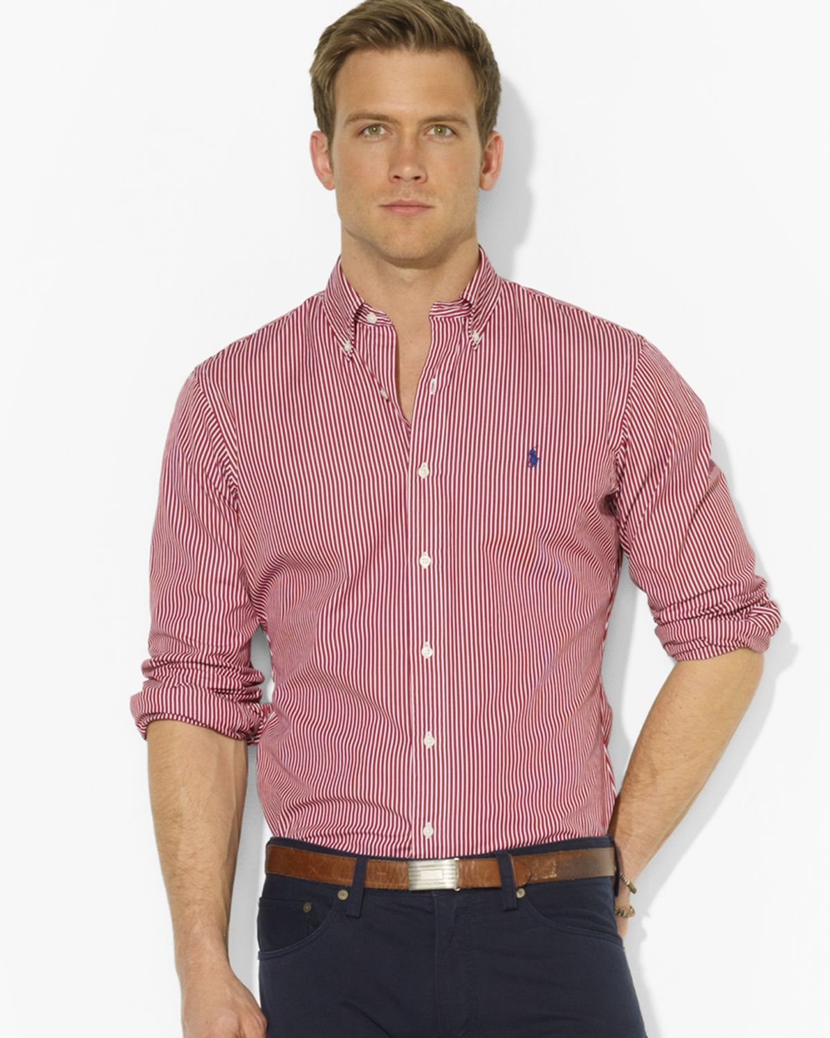 Ralph lauren Polo Customfit Striped Sport Shirt in Red for ...