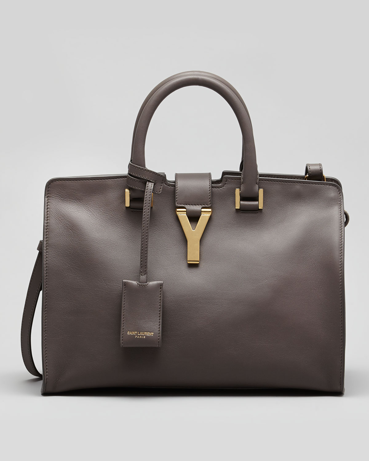 cfb3bfe481 Lyst - Saint Laurent Y-Ligne Cabas Mini Leather Bag in Brown