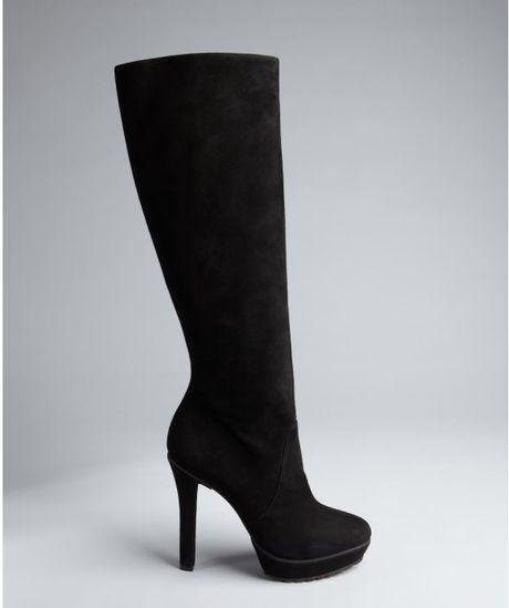 alexandre birman black suede platform knee high boots in