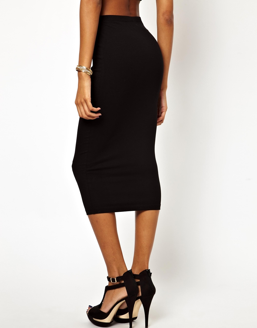 Asos Midi Pencil Skirt in Jersey in Black | Lyst