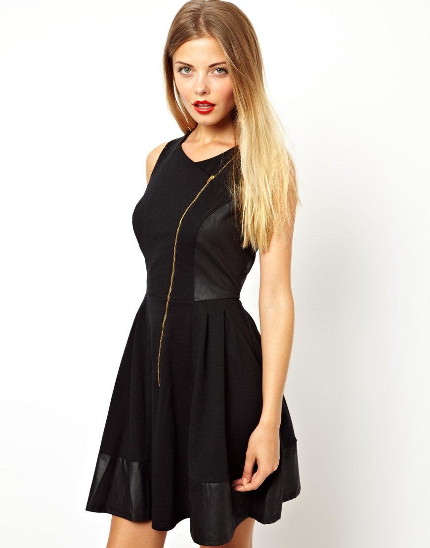 lyst asos skater dress with leather look panels in black