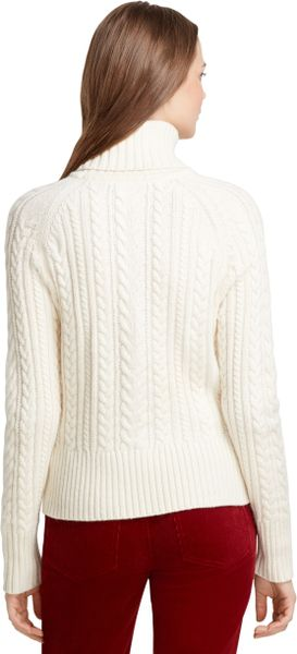 Brooks Brothers Long Sleeve Aran Cable Knit Turtleneck