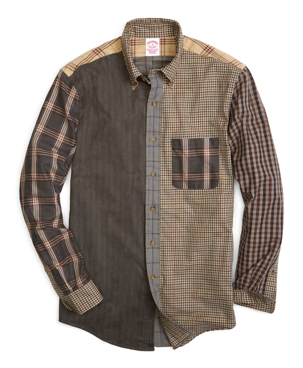 Brooks brothers brooks flannel regular fit pieced fun for Brooks brothers sports shirts