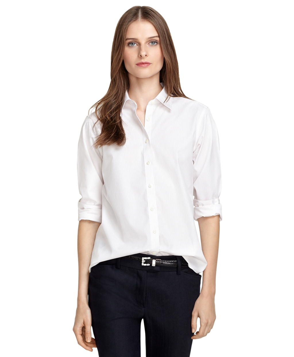 Brooks brothers non iron classic fit pinstripe dress shirt for Brooks brothers dress shirt fit guide