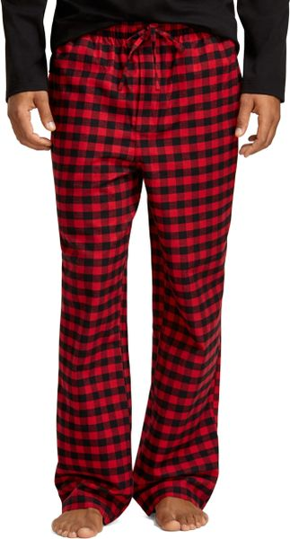 Brooks Brothers Buffalo Check Flannel Lounge Set In Red
