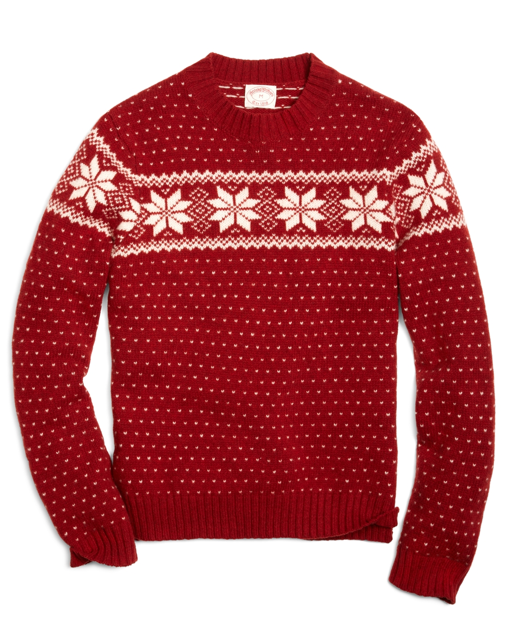 Lyst - Brooks Brothers Snowflake Fair Isle Crewneck Sweater in Red ... 91209d67d