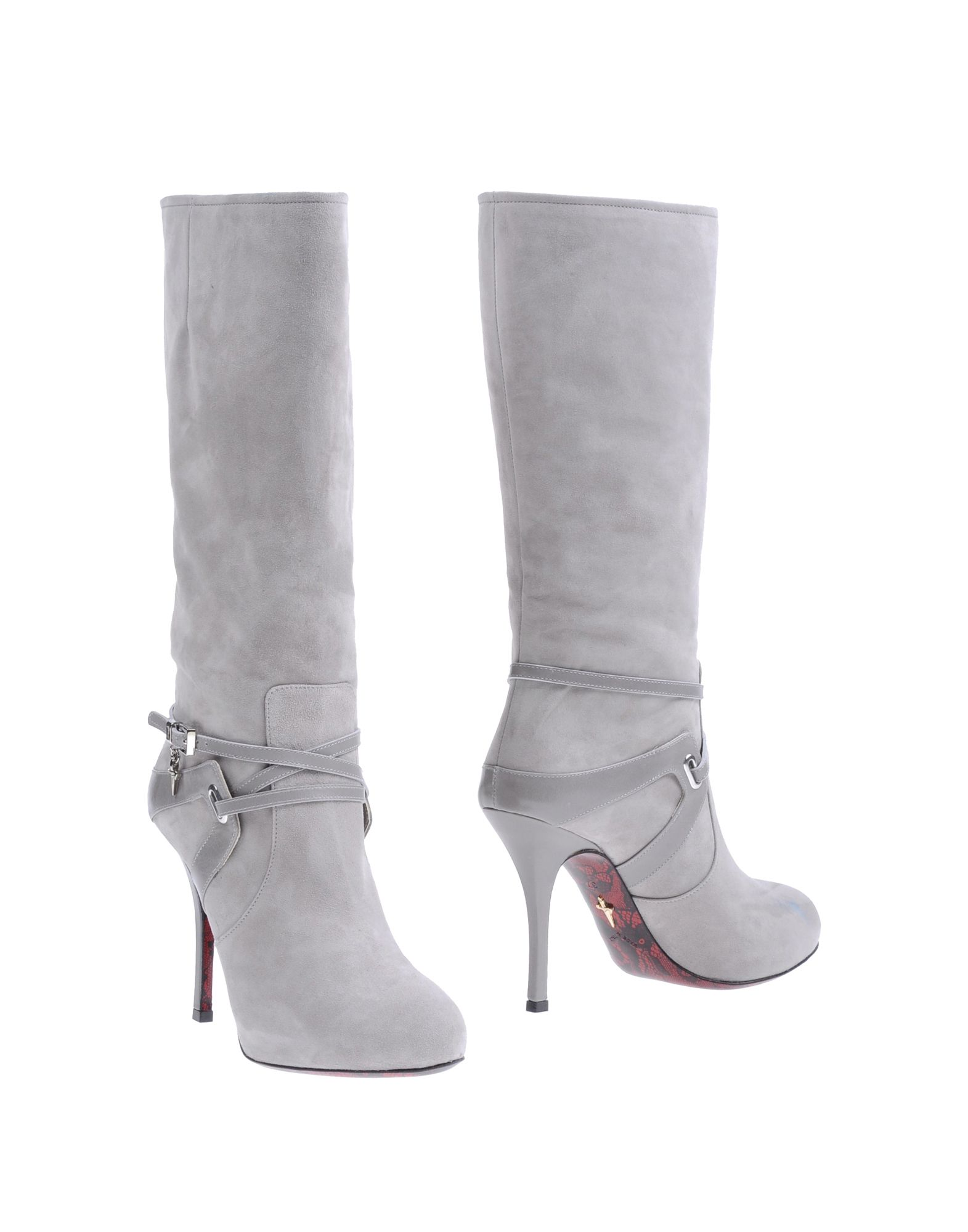 cesare paciotti high heel knee high boots in gray light