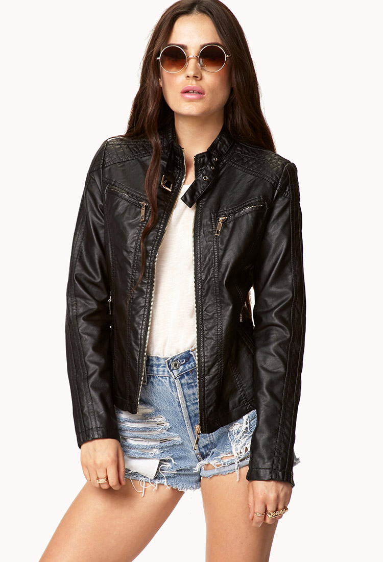 Forever 21 Faux Leather Moto Jacket in Black