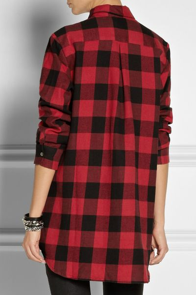 Maje Degriffe Oversized Plaid Cotton Shirt In Red Lyst