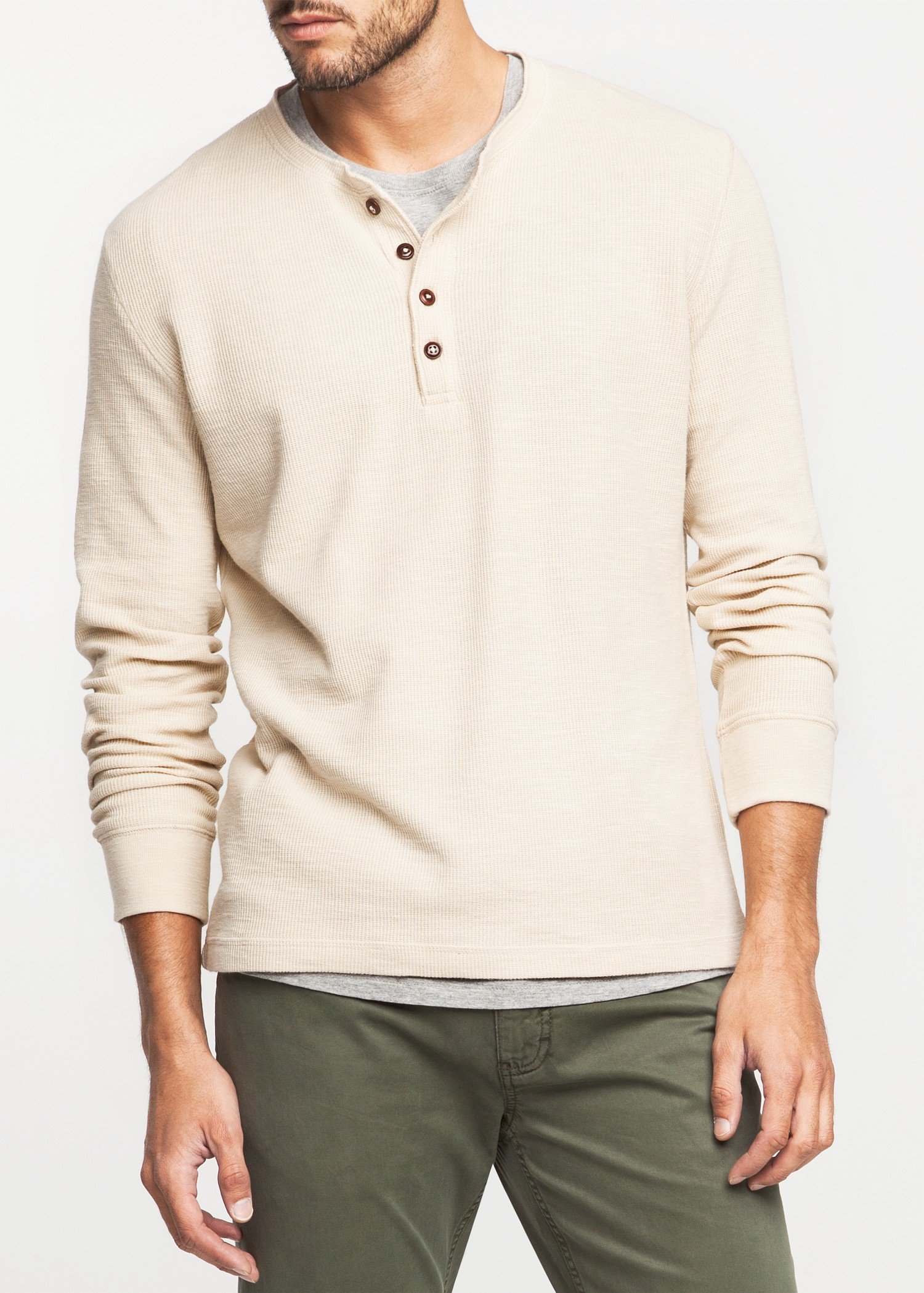 Mango Ribbed Cotton Henley Tshirt in Natural for Men | Lyst