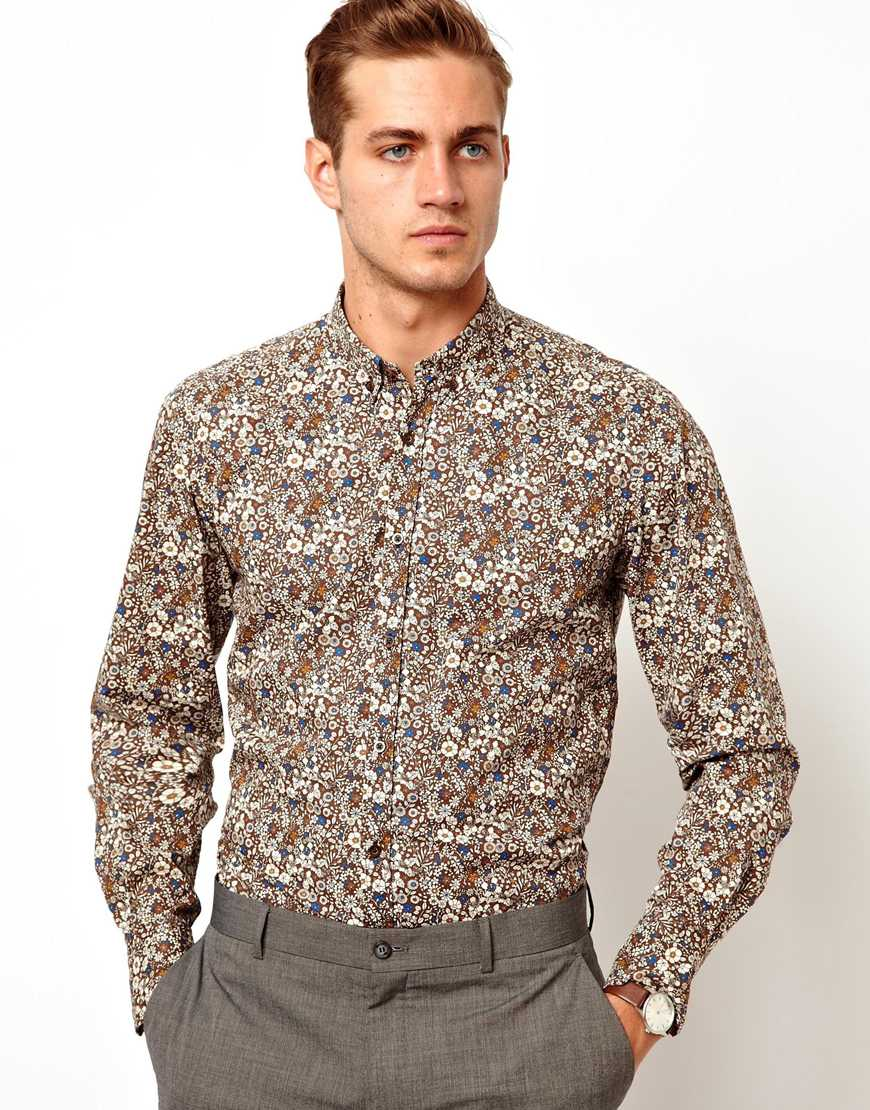 Asos Antony Morato Shirt with Floral Print in Brown for Men | Lyst