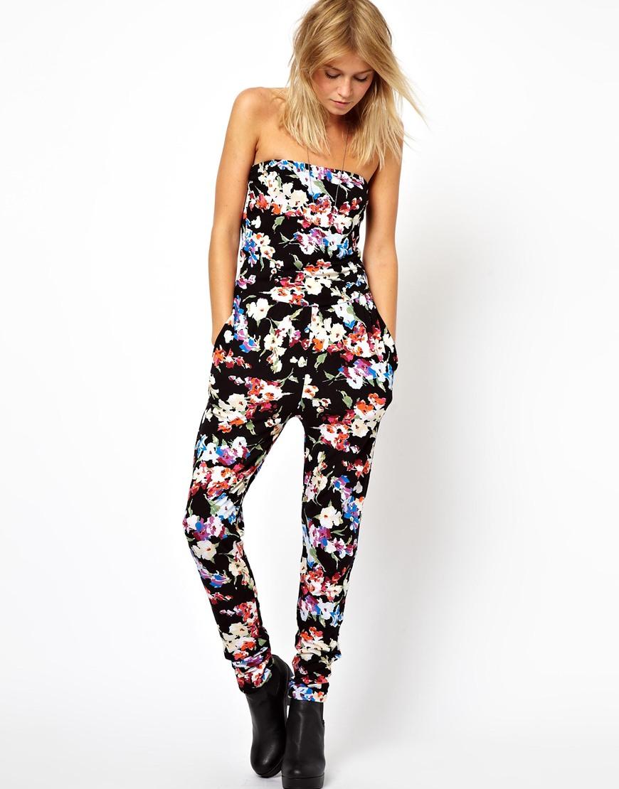 Asos Bandeau Jumpsuit in Multi Floral Print in Black | Lyst